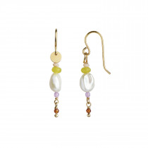 Petit Baroque Pearl Earring Gold with Candy Stones - Soft Lime